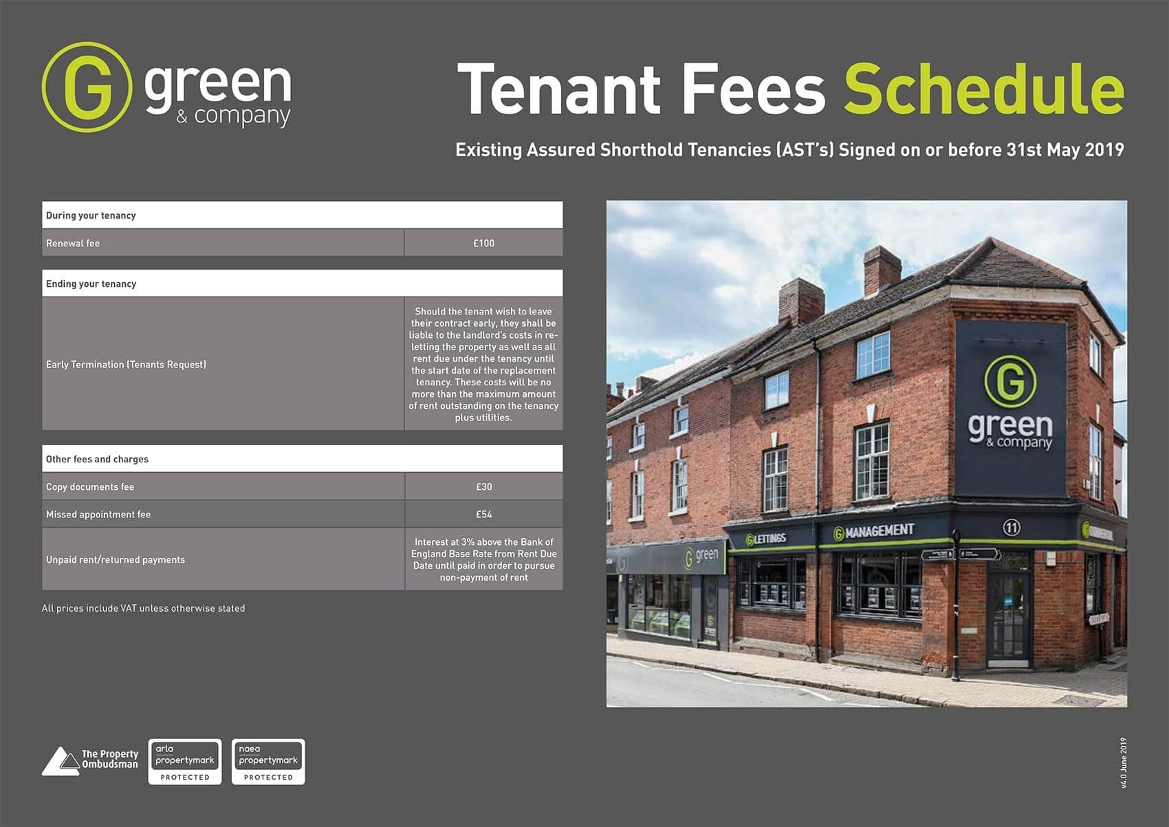 Greens tenant fees June 2019